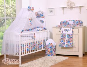Bedding set 7-pcs with mosquito-net- Hanging Hearts flower pattern