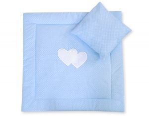 Baby pram set 2pcs- Hanging hearts white dots on blue