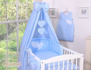 Bedding set 7-pcs with canopy- Hanging Hearts white polka dots on blue
