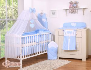 Bedding set 5-pcs with mosquito-net- Hanging Hearts white polka dots on blue