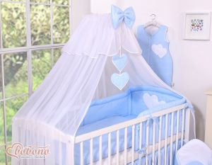 Mosquito-net made of chiffon- Hanging Hearts white polka dots on blue