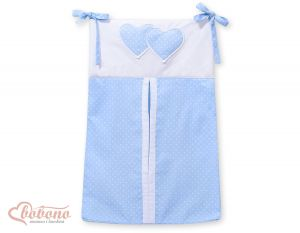 Diaper bag- Hanging hearts white dots on blue