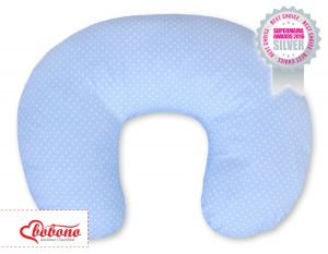 Feeding pillow- Hanging hearts white polka dots on blue