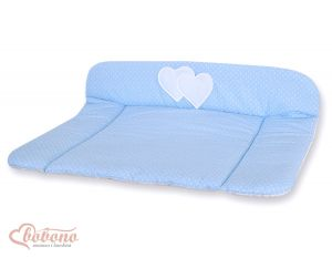 Soft changing mat- Hanging Hearts white polka dots on blue
