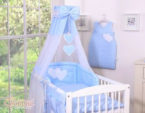 Canopy made of Chiffon- Hanging Hearts white polka dots on blue
