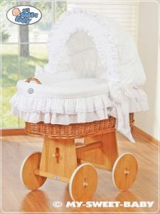 Moses Basket/Wicker crib with hood- Little Angel white