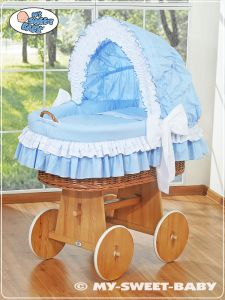 Moses Basket/Wicker crib with hood- Bellamy blue