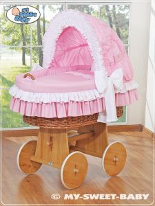 Moses Basket/Wicker crib with hood- Bellamy pink
