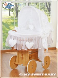 Moses Basket/Wicker crib with hood- Amelie white