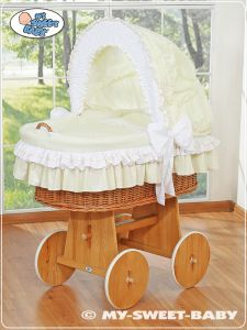 Moses Basket/Wicker crib with hood- Amelie cream