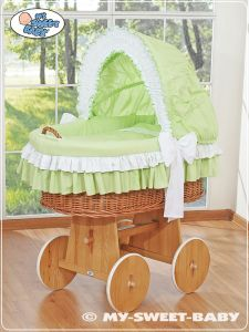 Moses Basket/Wicker crib with hood- Bellamy green