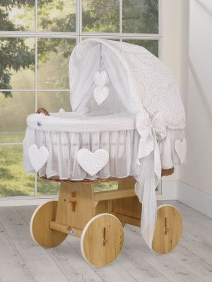 Moses Basket/Wicker hood crib- Amelie grey polka dots on white