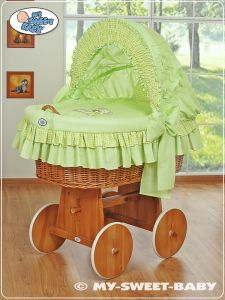 Moses Basket/Wicker crib with hood- Teddy Bear with Bow green