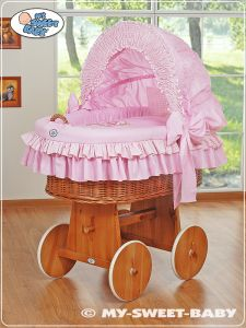 Moses Basket/Wicker crib with hood- Teddy Bear with Bow pink