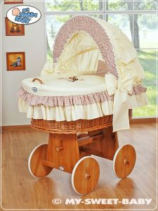 Moses Basket/Wicker crib with hood- Teddy Bear with Bow brown