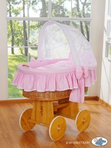 Moses Basket/Wicker crib with hood- Glamour pink-white