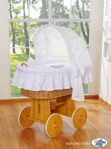 Moses Basket/Wicker crib with hood- Glamour white