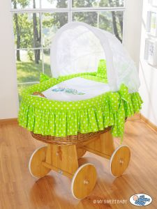 Moses Basket/Wicker crib with hood- Owls Bigi Zibi & Adele green
