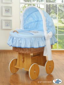 Moses Basket/Wicker crib with hood- Teddy Bear Barnaba blue