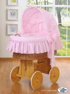 Moses Basket/Wicker crib with hood- Good Night pink