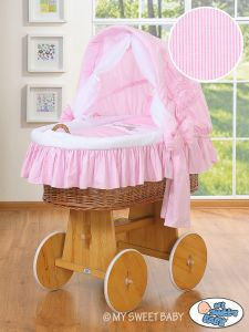 Moses Basket/Wicker crib with hood- Donkey Luca pink