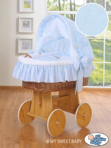 Moses Basket/Wicker crib with hood- Donkey Luca blue