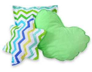 3pcs pillow set - Chevron green-blue