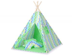 Teepee tent- Chevron green-blue