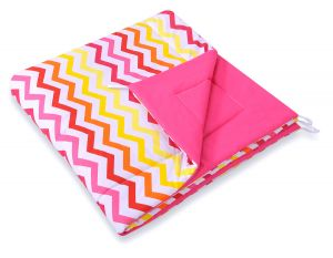 Double-sided teepee playmat- Chevron pink-yellow