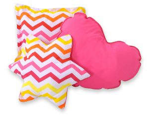 3pcs pillow set - Chevron pink-gelb