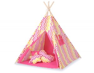 MEGA TEEPEE SET: Teepee tent+playmat+pillows - Chevron pink-yellow
