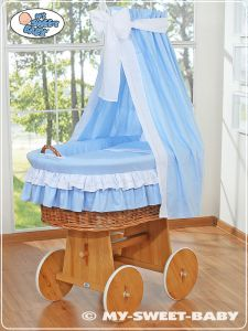 Moses Basket/Wicker crib with drape- Bellamy Blue