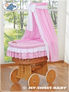 Moses Basket/Wicker crib with drape- Bellamy pink