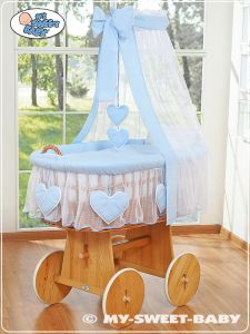 Moses Basket/Wicker crib with drape- Amelie blue