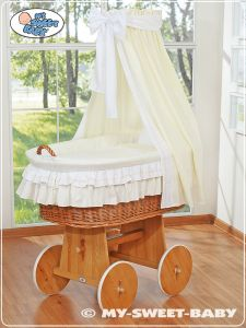 Moses Basket/Wicker crib with drape- Bellamy cream