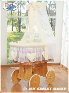 Moses Basket/Wicker crib with drape- Amelie cream