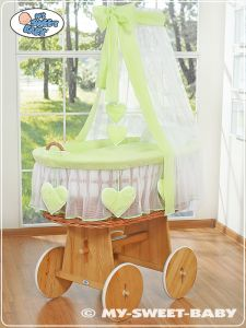Moses Basket/Wicker crib with drape- Amelie green