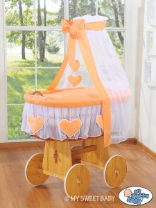 Moses Basket/Wicker crib with drape- Amelie peach