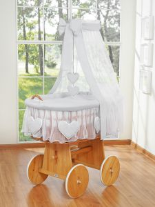 Moses Basket/Wicker crib with drape- Amelie gray