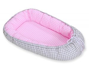 Baby nest- grey checkered/ pink checkered
