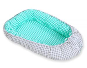 Baby nest- mint checkered/ grey checkered
