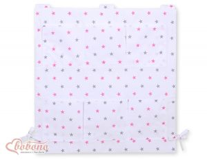 Cot tidy- white with grey-pink stars