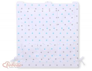 Cot tidy- white with grey-blue stars