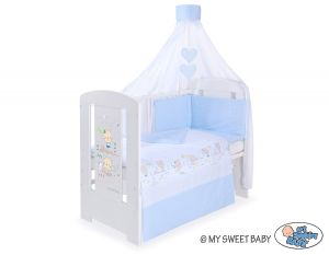 Bedding set 5-pcs with canopy- Sweet bears blue