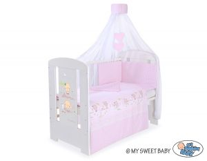 Bedding set 5-pcs with canopy- Sweet bears pink