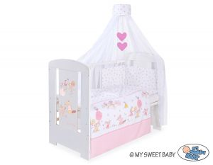 Bedding set 5-pcs with canopy- Friends pink