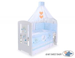 Bedding set 5-pcs with canopy- Lovely birds blue