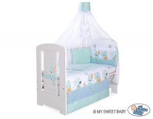 Bedding set 5-pcs with canopy- Dreamy bunny mint