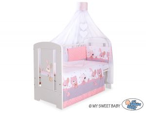 Bedding set 5-pcs with canopy- Dreamy bunny pink