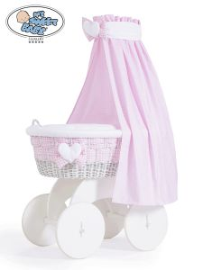 Moses Basket/Wicker crib with drape Isabella no. 70202-908*